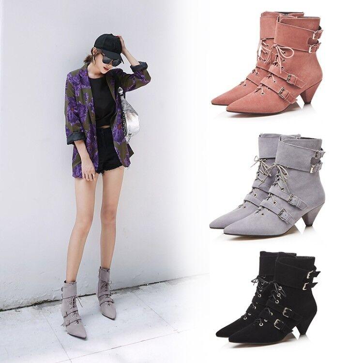Femmine Pointy  Toe Buckle Strap Zip Kitten Low Heels Lace up Suede Ankle scarpe sz  a prezzi accessibili