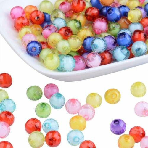 100× Mix Transparent Acrylic Bead in Bead Faceted Round 8mm Jewelry Loose Spacer