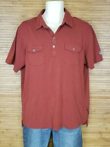 Kuhl-Rust-Red-2-Pocket-Polo-Shirt-Mens-Size-Large-L-EUC