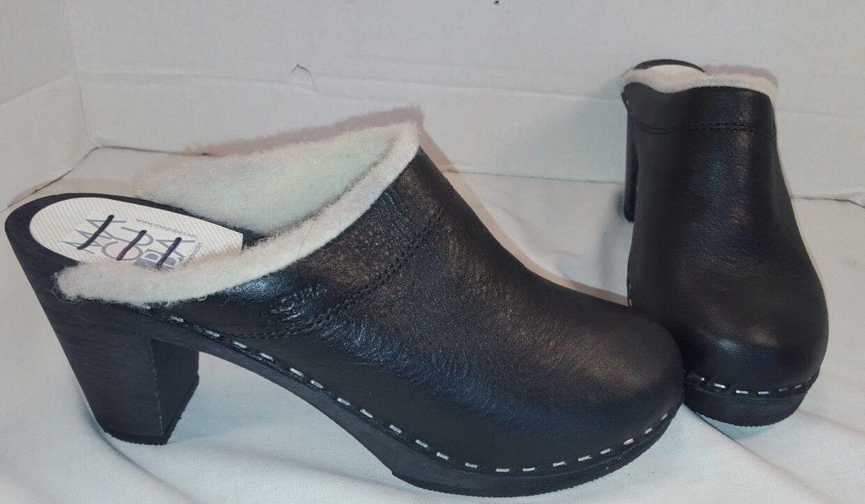 elementi di novità NEW MAGUBA MAGUBA MAGUBA nero OSLO LEATHER SHERPA LINED HEELED CLOGS donna scarpe US 9 EU 39  negozio online