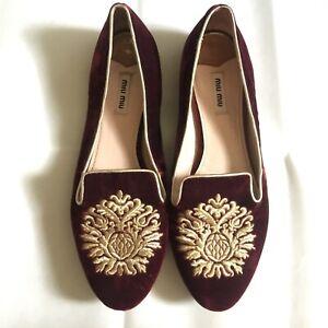 Miumiu-velvet-smoking-flats-with-crystal-heels-sz-40-in-burgundy