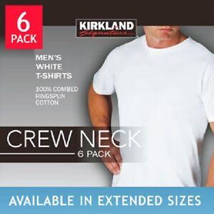Kirkland crew neck men 39 s tee white t shirt 6 pack tshirt m for Hanes premium men s 6pk v neck t shirt white