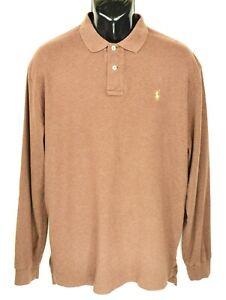 Polo-Ralph-Lauren-Men-039-s-Size-L-Brown-Long-Sleeve-Polo-Shirt