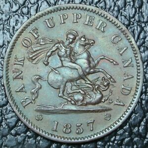 1857-ONE-PENNY-BANK-TOKEN-BR-719-Dragon-Slayer-Bank-of-Upper-Canada-PC-6D