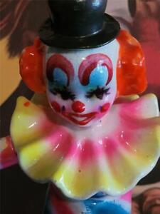 Vintage-7-034-Enamel-Over-Paper-Mache-Clown-Magician-Figurine-Neon-Tie-Dye-Colors