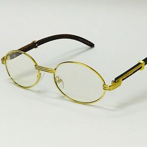 ede5d7e94cea Vintage Wood Buffs Migos Designer Eye glasses Oval Gold Frame Clear Lens  Glasses