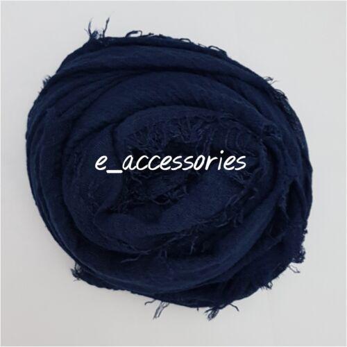 New Crimp Crinkle Plain Hijab Scarf Maxi Headscarf Large Scarves Shawl Navy