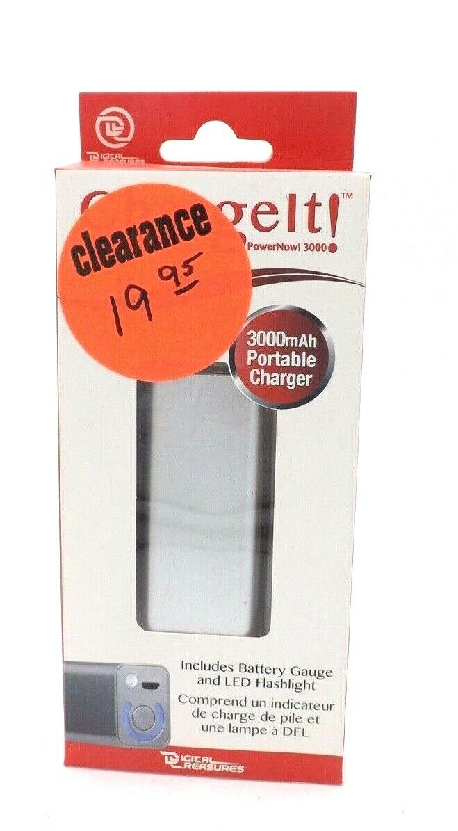 ChargeIt 3000mAh Portable Charger Black includes LED lights