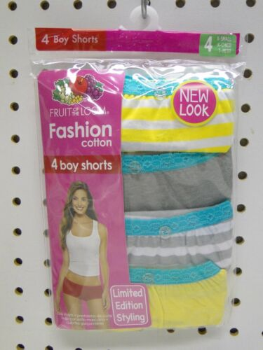 4pr Women/'s Fruit of the Loom size 4 Low Rise Boy Shorts Panties Cotton Assorted
