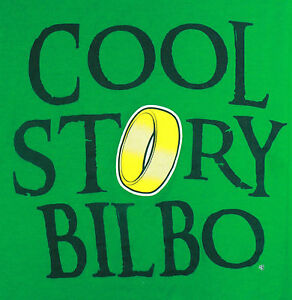 The-Hobbit-Lord-of-the-Rings-034-Cool-Story-Bilbo-034-T-Shirt-2XL-Green-Ring-of-Power