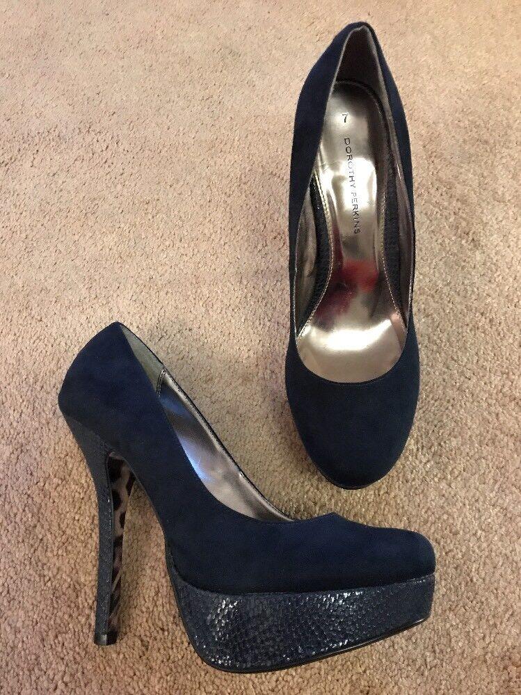 Dorothy Perkins Navy Blue Platform Suede & Snake Skin Effect Platform Blue Heels 726b0b