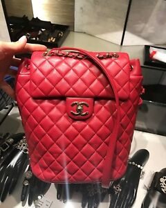 90bd146cba8d Image is loading CHANEL-Lambskin-Quilted-Small-Urban-Spirit-Backpack-Red