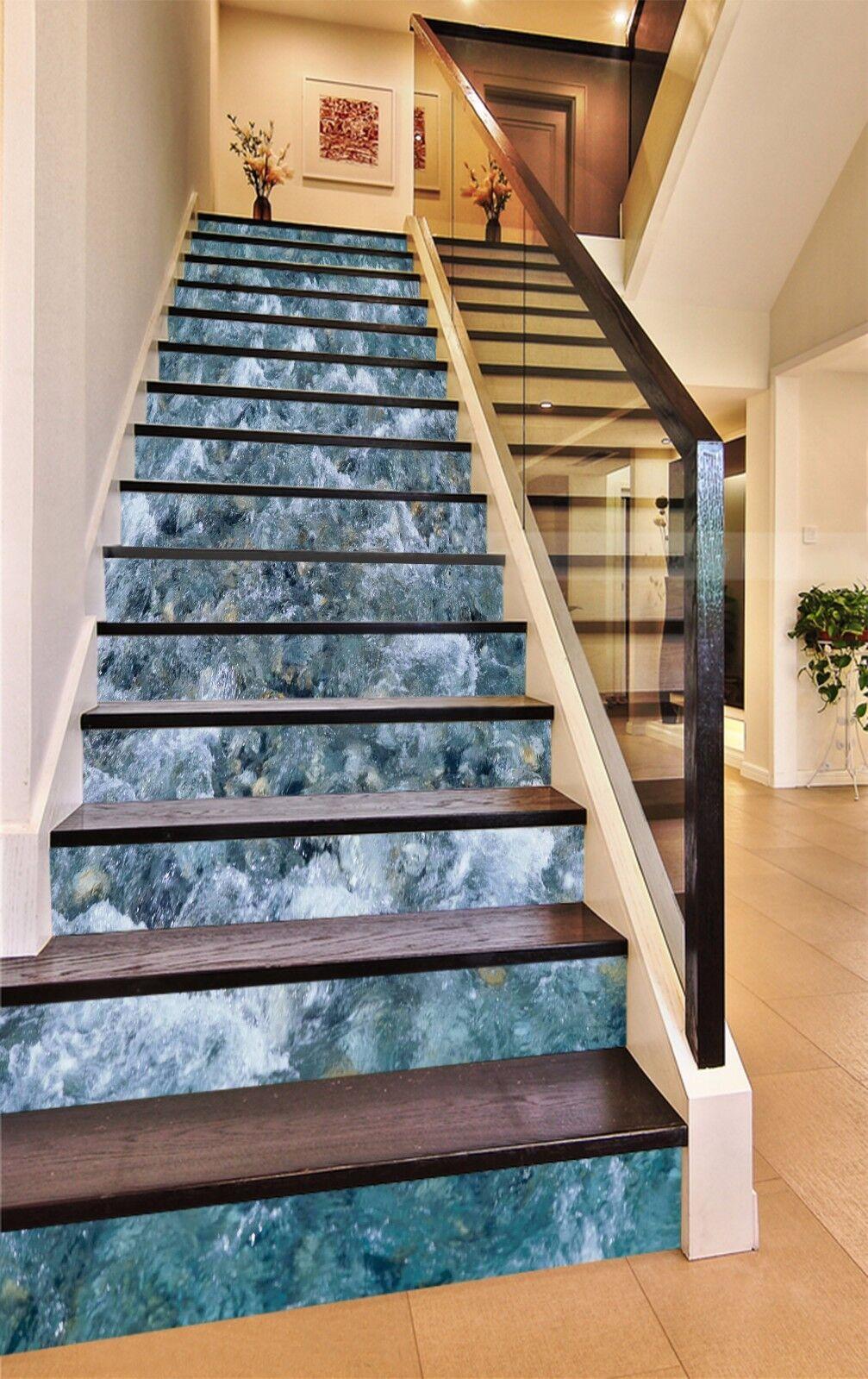 3D Waves Flow 861 Stair Risers Decoration Photo Mural Vinyl Decal WandPapier AU