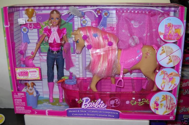 Nunca quitado de la Caja Mattel Barbie de ducha y mostrar Caballo Y Muñeca Set