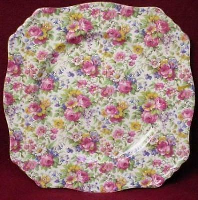 """ROYAL WINTON china SUMMERTIME gold trim SQUARE DINNER PLATE - 9-3/4"""""""