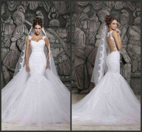 2020 New White//Ivory Mermaid Wedding Dress Lace Bridal Gown Size 6 8 10 12 14 16