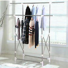 Heavy Duty Collapsible Clothing Double Rail Adjustable Garment Hanger Rack New