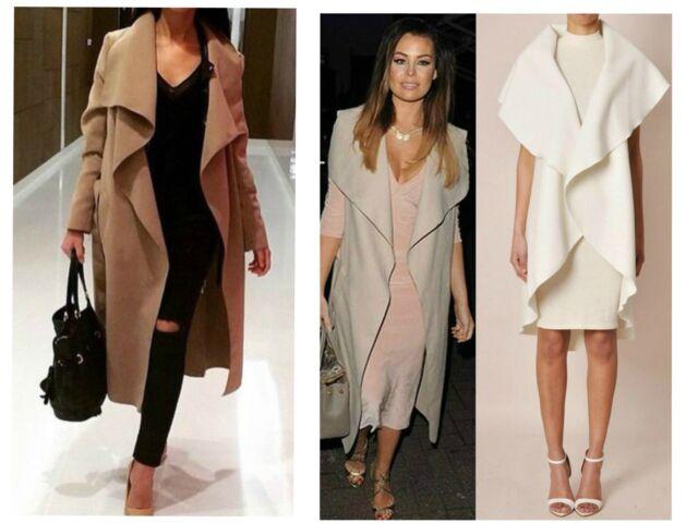 Womens ladies Long drape WATERFALL TRENCH COAT Jacket Cardigan 8 10 12 14 lot s2
