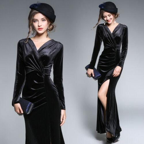 Women Lady Velvet Velour Formal Cocktail Party Evening Long Maxi Dress V-neck