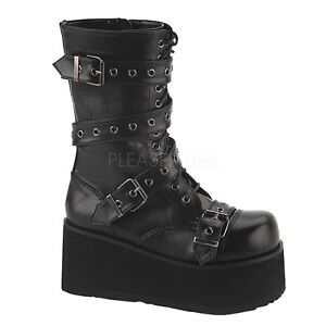 cf6f8678767 Details about BIG SALE DEMONIA TRA205 B PU Women s Gothic Punk Black  Platform Ankle Boots 6