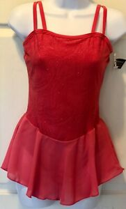 GK-CORAL-CAMISOLE-ADULT-SMALL-GLITTER-LYCRA-MATTE-TRICOT-FIGURE-SKATE-DRESS-AS