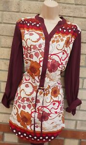 NEXT-PURPLE-BURGUNDY-WHITE-FLORAL-BELTED-LONG-SLEEVE-BLOUSE-T-SHIRT-TOP-12-M