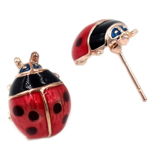 Lovely Oil Red Ladybug Ear Studs Bug Earrings Alloy Insect Vogue Jewelry 2 Pairs