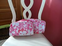 Set Of 2 Pink And White Floral Cosmetic Bags By Clinique