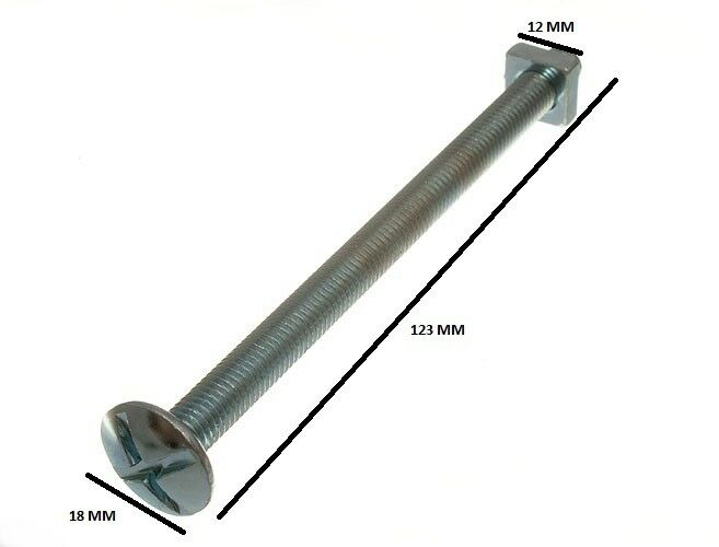 48 Of Roofing Bolts Cross Head + Square Nuts ZP 8MM By 120MM