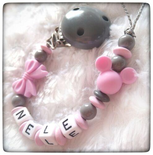 Schnullerkette mit Namen Maus rosa grau Mädchen Silikon Maus mit Doppelname