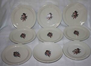 Rare-Vintage-Cherubs-Angel-Plates-Bowl-Delco-Homer-Laughlin-China-Lot-of-9