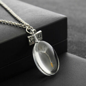 New-Wish-Glass-Oval-Dandelion-Seeds-Pendant-Necklace-Jewelry-Silver-Chain-Charm