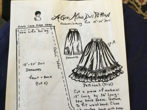 Geri Milano Doll Clothing Pattern 18 t0 20 in.