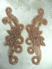 "Rose Gold Appliques Crystal Rhinestone Beaded Mirror Pair 7.5"" (XR27X-rsglcr)"