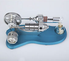 Blue Mini Hot Air Stirling Engine Motor Model Educational Toy Kit with LED Light