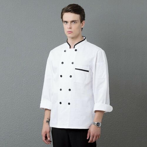 New Chef Coat Restaurant Double Breasted Uniform Kitchen Long Sleeve Cook Jacket