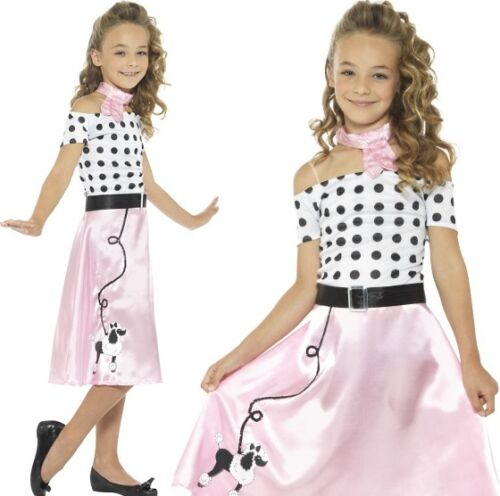 Childs Girls 50s Poodle Girl Fancy Dress Costume Rock n Roll Outfit by Smiffys