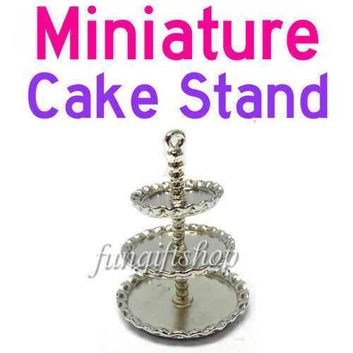 Dollhouse Miniature 3 Tier Bakery Cake Dessert Stand F1 for Doll Kitchen food