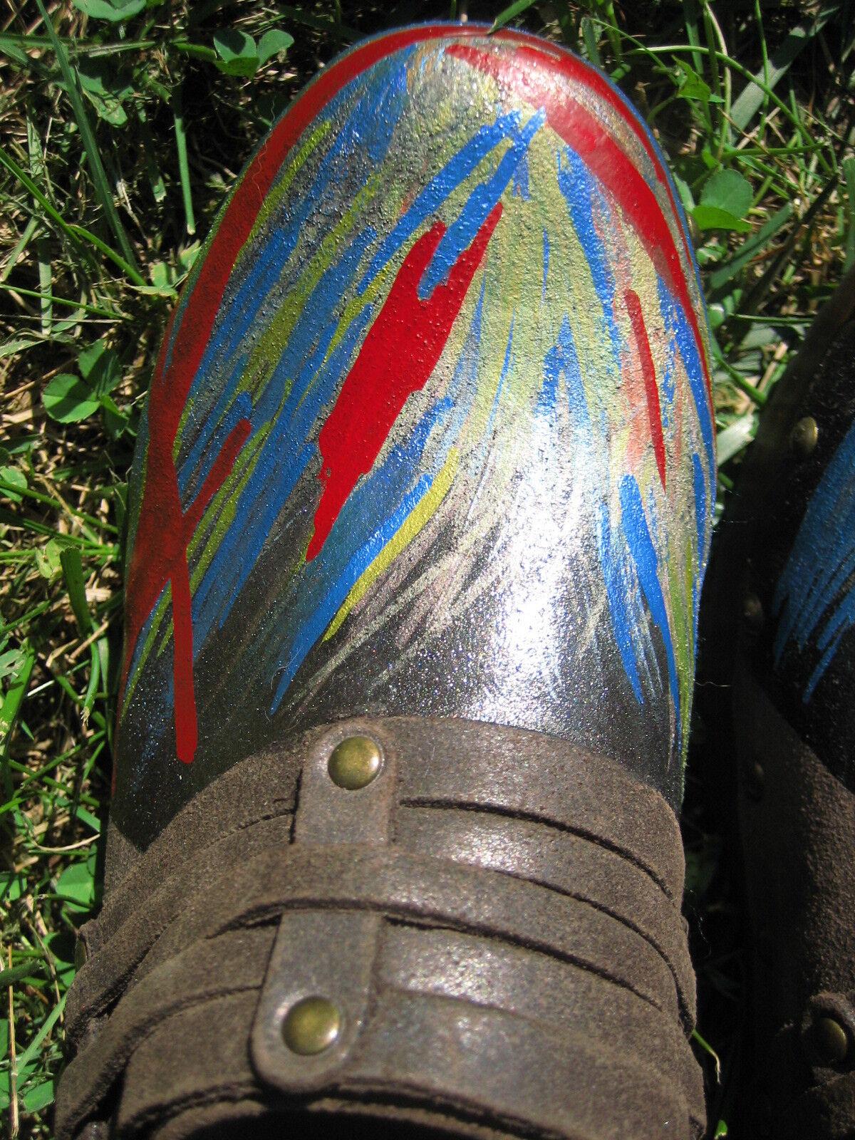 Marron Foncé Frye Clara peint à la la la Main Abstrait Geo NU Buck Cuir Sabots Mule 00a596