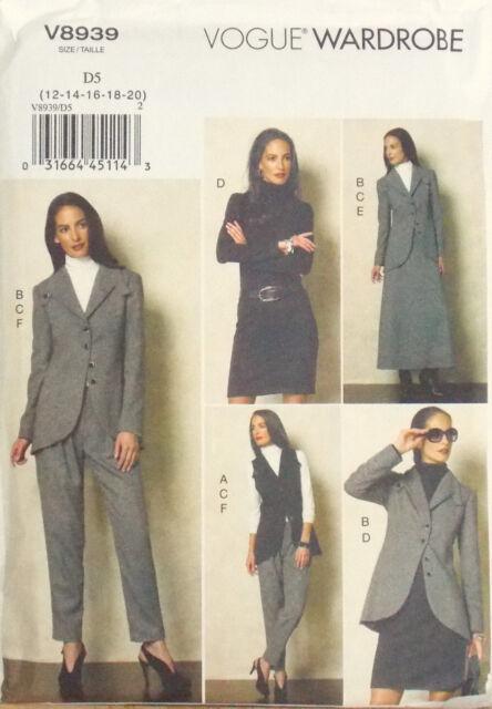 VOGUE SEWING PATTERN JACKET VEST DRESS SKIRT TOP PANTS SIZE 4-12 # V8939