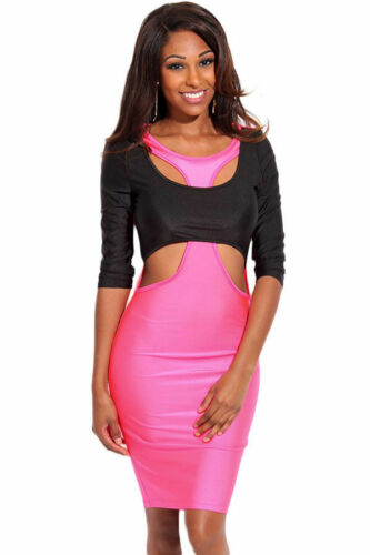 "WOMEN /""CLOSEOUT/"" /""Large/"" Rosy Black Two Tone Cut out 3//4 Sleeves Bodycon Dress"