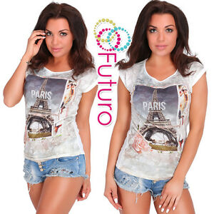 Casual Sequined T-Shirt Paris Print Short Sleeve Party Top Tunic Size 8-12 FB238
