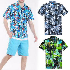 Fashion-Mens-039-Casual-Shirts-Summer-Beach-Short-Sleeve-Floral-Shirts-L-4XL