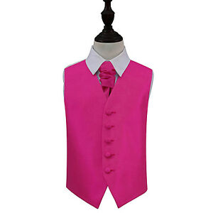 DQT-Plain-Solid-Check-Fuchsia-Pink-Boys-Wedding-Waistcoat-amp-Cravat-Set