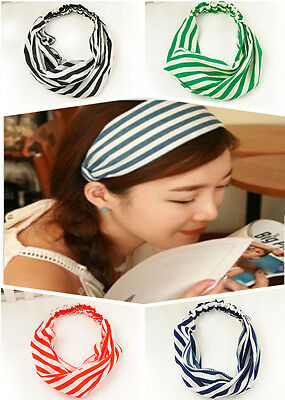 Sweet Women Elastic Turban Head Wrap Stripe Twisted Knotted Special Headband