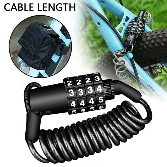 Bike Bicycle Code Combination Lock Black 4-Digital Steel Cable Secure New AU New