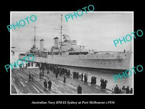 OLD-LARGE-HISTORIC-AUSTRALIAN-NAVY-PHOTO-OF-THE-HMAS-SYDNEY-SHIP-c1936