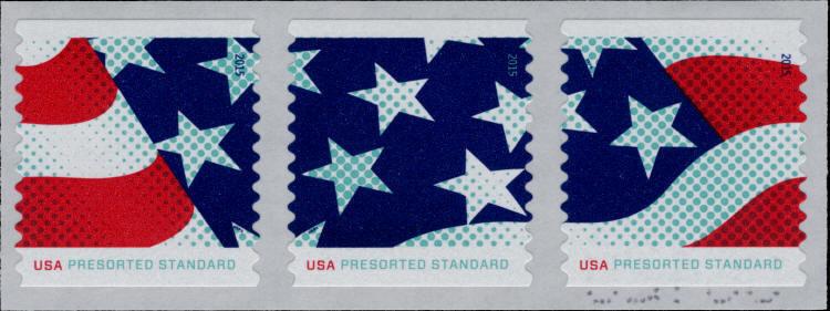 2015 10c Stars & Stripes, Coil Strip of 3 Scott 4961-63