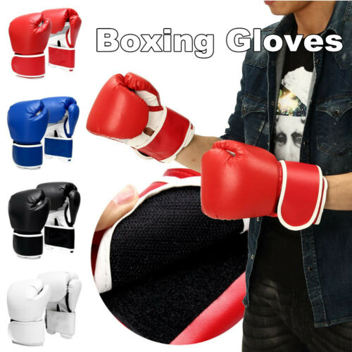 12oz Boxing Gloves Punching Bag Training Muay Thai Fight Sparring Pads Wraps Gym