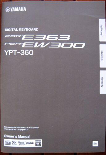 Yamaha PSR-E363 PSR-EW300 YPT-360 Keyboard Original Owner/'s User/'s Manual Book
